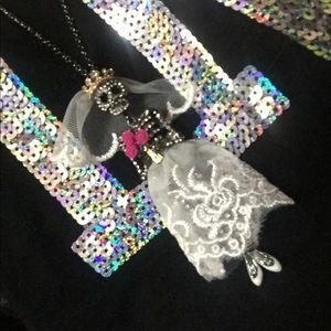 Betsey Johnson skeleton bride necklace